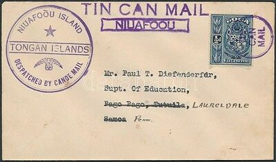 Tonga stamp Tin Can Canoe Mail cover to the USA 1930 WS239783
