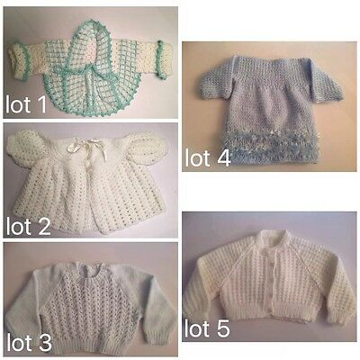 Hand Knitted Or Crocheted Baby Cardigan Jacket Jumper Size 000 Choice Of 5