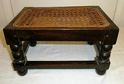 Antique Peg Jointed Oak Foot Stool with Cane Seat
