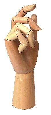 """Large 12"""" Manikin Wooden Right Hand Body Artists Model Articulated Hand"""