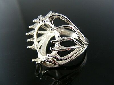 5584 Ring Setting Sterling Silver, Size 6, 14X12 Mm  Oval Stone Cabochon