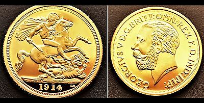 PROOF-LIKE 1914 24k GOLD PLATED King George V Full Sovereign UK - COPY COIN * BU