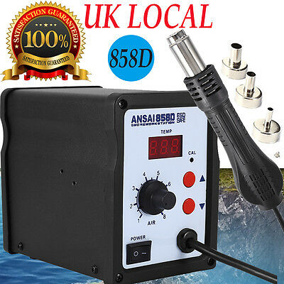 858D Hot Air Rework Station Solder Blower Desoldering Tool with 3 Nozzles 220V