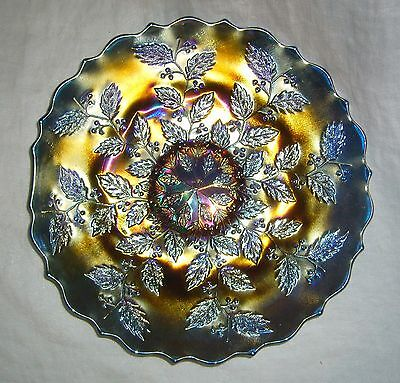 "Antique Fenton Blue Carnival Glass Holly ~ Carnival Holly 9"" Plate"