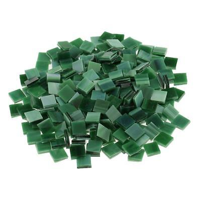250x Square Glass Pieces Mosaic Tiles Tessara for Art Crafts 10x10mm Green