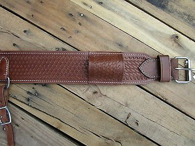 Basket Weave Leather Back Rear Cinch Flank Billet Western Horse Saddle Girth
