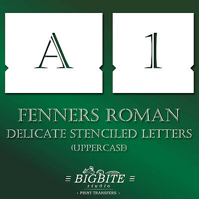 Alphabet STENCILS: Stenciled Letters–Delicate Font Fenners Roman Uppercase #071