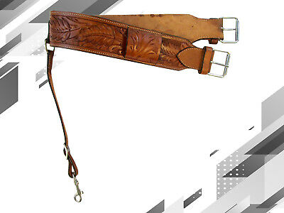 Oak Tooled Leather Back Rear Cinch Flank Billet Western Horse Saddle Girth Tack