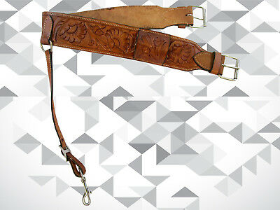 Floral Tooled Leather Back Rear Cinch Flank Billet Western Horse Saddle Girth