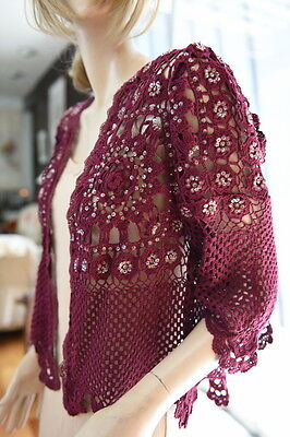 Lim's Vintage Soft Cotton Hand Crochet Jacket With Hand Sequins Wine M