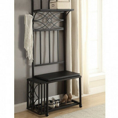 New Contemporary Black Seat Cushion Wood Accent Hall Tree Top and bottom shelves