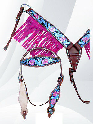 Headstall Breast Collar Pink Fringe Blue Tooled Leather Western Horse Bridle