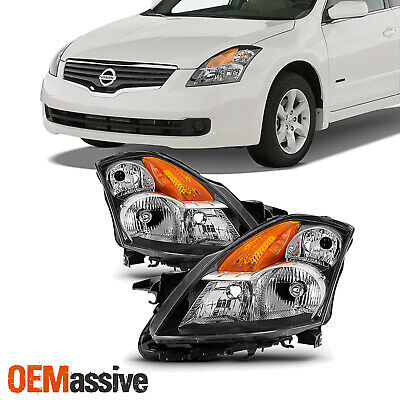 Fits 2007 2008 2009 Altima 4Dr Sedan Headlights Headlamps Replacement Pair Set