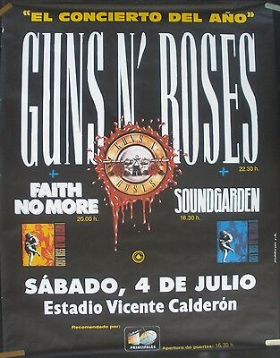 Guns N Roses Soundgarden Faith No More 1992 Vintage Spain Concert Promo Poster