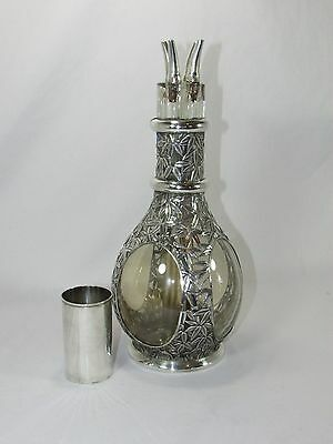Antique French 950 Sterling Silver Four-Way Cruet Bottle~Oriental Bamboo Motif