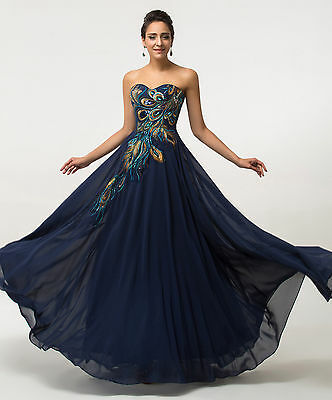New Peacock  Formal Evening Gown Prom Chiffon Bridesmaid Wedding Dress PLUS SIZE