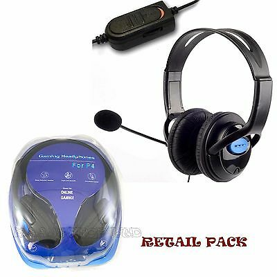 Deluxe Headset Headphone With Microphone + Volume Control For Playstation 4 Pro