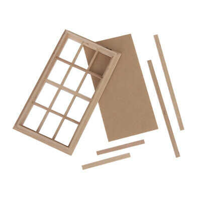12th Scale Dolls House Miniature Wooden 12 pane Window Frame Home Funiture