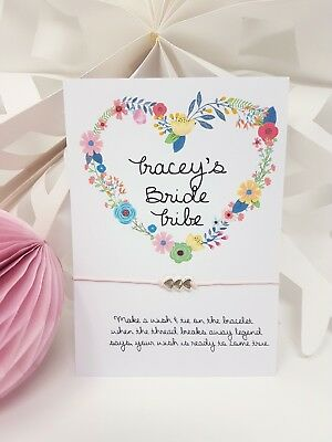 Personalised Bride Tribe Floral Wedding Wish Bracelet Card Hen Party Favour
