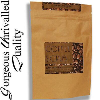 200g Organic 100% natural ROBUSTA coffee & coconut oil body scrub VEGAN 220g