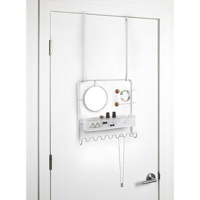 Umbra Over The Door Hanging Jewelry & Accessory Organizer White Rack With Mirror