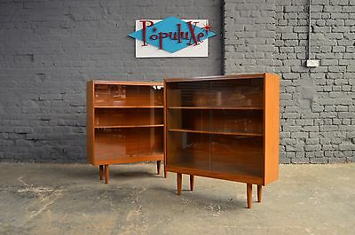 Retro Vintage Mid Century Schreiber Glazed Bookcase Teak Effect Display Cabinet