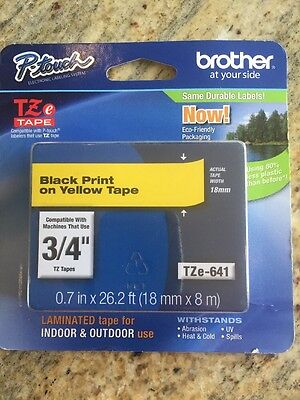 "3/4"" (18mm) Black Print on Yellow Tape, Genuine Brother Replacement Label"