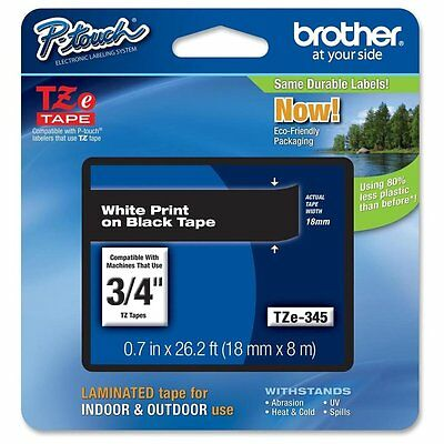 "Brother TZE-345 3/4"" White Print on Black Tape"