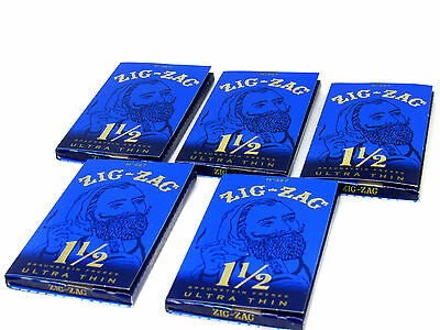 Zig-Zag Blue Ultra Thin 1 1/2  Cigarette Rolling Papers 5 Pack - 32 Leaves Each