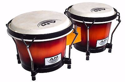 "AM Percussion 7"" and 8"" Deluxe Lap Bongos with BUCKSKIN HEADS  - SUNBURST"