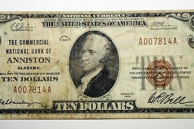 $10 National Bank Note for The City National Bank of Anniston Alabama A007814A