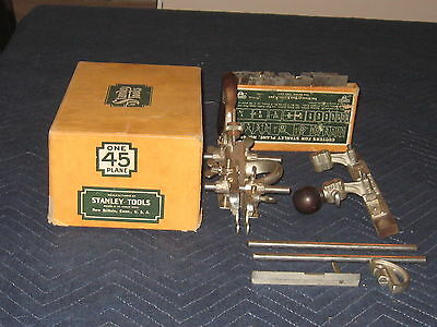 Stanley No. 45 Combination Plane Original Sweetheart Blade Set Complete Orig Box