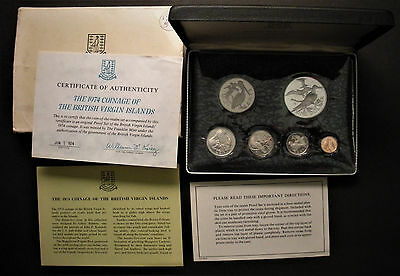 1974 British Virgin Islands 6-Coin Proof Set w/.925 Silver Dollar Coin in Case