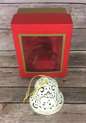Wedgewood Our First Christmas Bell Ornament Undated White with Gold Doves w/ Box