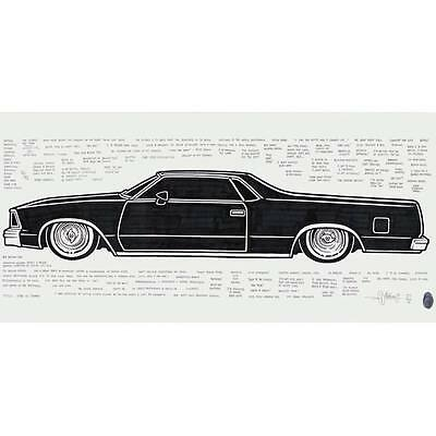 "Original Mike Giant large drawing ""1986 El Camino"" lowrider (signed and framed)"