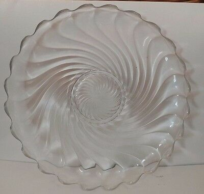 Vintage Glass Fostoria Clear Colony Swirl Serving Torte Garden Cake Plate 11.5""