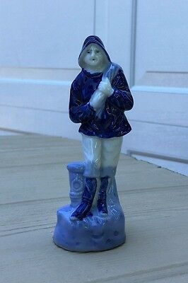 Vintage Ceramic Made in Occupied Japan Blue and White Fisherman Figurine