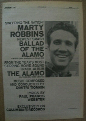 Marty Robbins 1960 Ad- Ballad Of The Alamo Dimitri Tiomkin Columbia