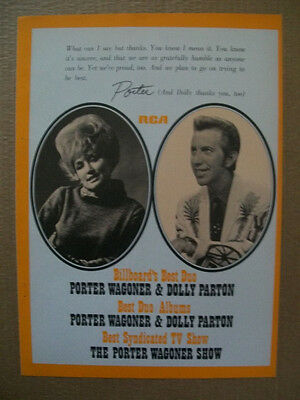 Porter Wagoner & Dolly Parton 1970 Ad- best duo thanks