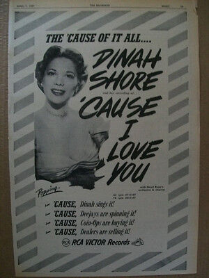 Dinah Shore 1951 Ad- Cause I Love You RCA Victor Henri Rene