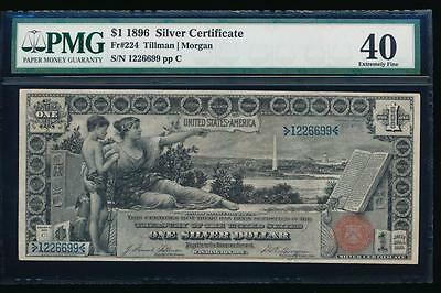 AC Fr 224 1896 $1 Silver Certificate EDUCATIONAL PMG 40