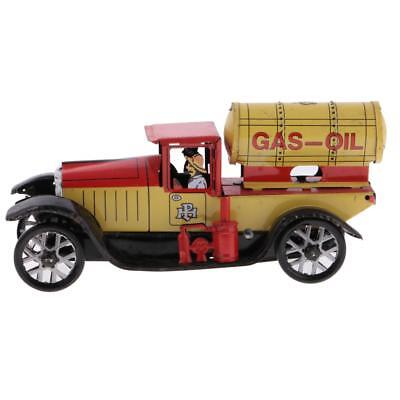 Wind Up Clockwork Gas-oil Truck Model Tin Toy Collectible Gift Home Decor