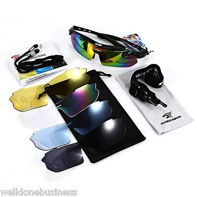 Robesbon Sports Running Outdoor Cycling Glasses UV400 Sunglasses with 5 Lenses
