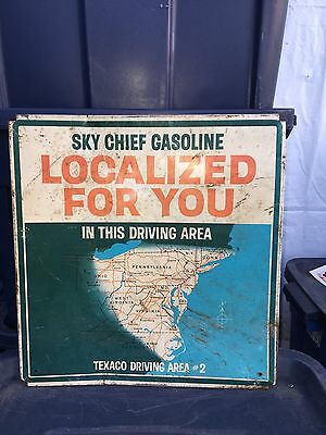 "16"" 1950's Texaco Sky Chief Gasoline Driving Area Sign"