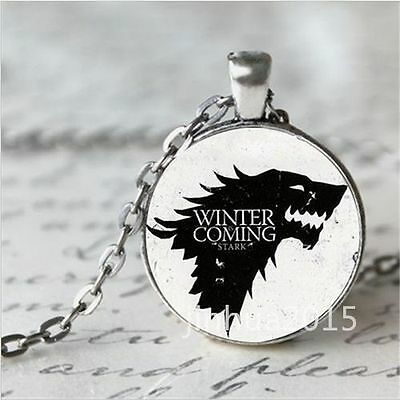 GAME OF THRONES WINTER COMING BLACK CHAIN MEDIEVAL SHOW glass necklace pendant
