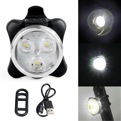 Rear Safety 3x LED 4Modes Bicycle USB Rechargeable White Warning Bike Tail Light