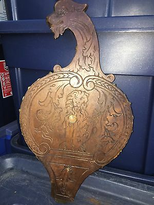 "1930's 17 3/4"" Carved Wood Bird Pediment"