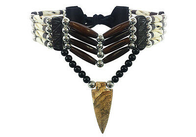 Native American Style 4 Row Buffalo Bone Hairpipe and Arrowhead Choker Necklace