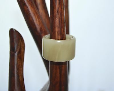 Antique Chinese Mutton Fat 18mm JADEITE Archers RING Large BAND size 10.5