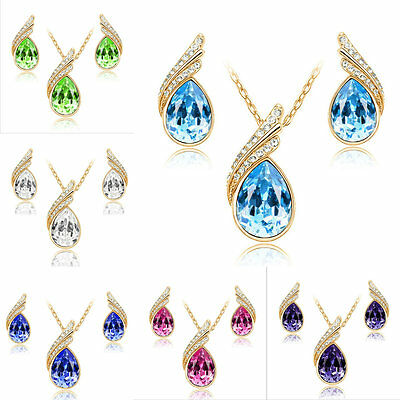 Woman's Water Drop Alloy Stud Earrings Gold Chain Necklace Wedding Jewelry Sets